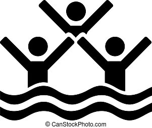 Synchronized swimming three people