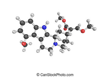 3d structure of Mitragynine, an indole-based opioid and the...