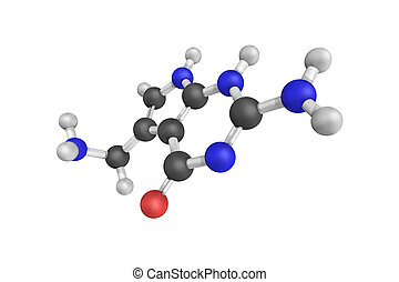 3d structure of 7-Aminomethyl-7-carbaguanine, a substitute...