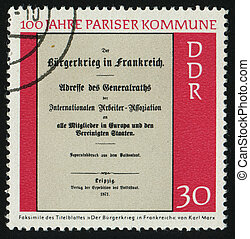 postmark - GERMANY- CIRCA 1971: stamp printed by Germany,...