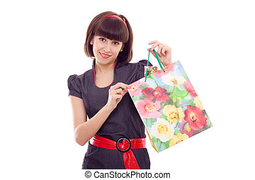beautiful woman with paper bag in hands isolated