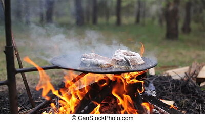 Fresh fish grilled on forest fire