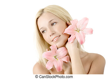 Beautiful woman with pink lily smile isolated on white