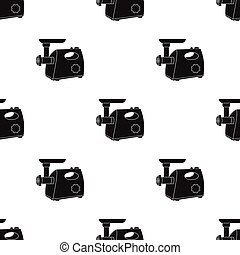 Electical meat grinder icon in black style isolated on white...