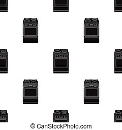 Kitchen stove icon in black style isolated on white...