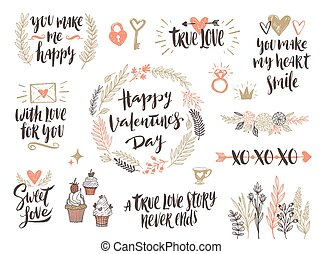 Valentine's day hand drawn set