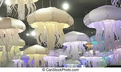 Beautiful ceiling lamp in the form of marine jellyfish stock...