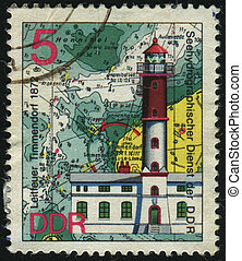 postmark - GERMANY - CIRCA 1974: stamp printed by Germany,...