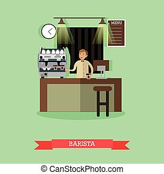 Vector illustration of barista making coffee in flat style -...