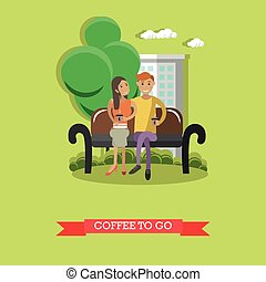 Coffee to go concept vector illustration in flat style....