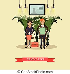 Vector illustration of job candidates in flat style - Vector...