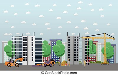Residential construction concept vector illustration in flat...