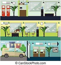 Vector set of bank interior concept design elements, flat...