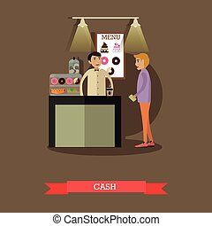 Vector illustration of barista and visitor in flat style -...