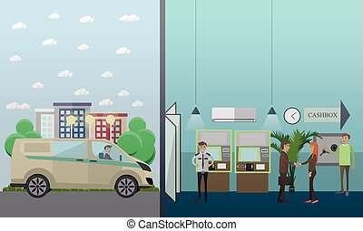 Vector set of banking concept design elements in flat style....