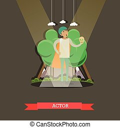 Vector illustration of actor playing at the theater, flat...