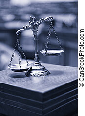 Decorative Scales of Justice in the Courtroom, Law and Justice concept