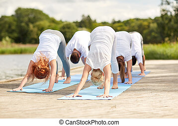 group of people making yoga dog pose outdoors - fitness,...