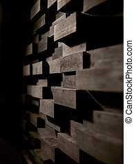 wooden wall decoration - acoustic materials, texture,...