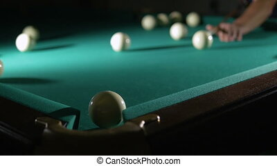 Russian billiards blow cue - successfully. Ball enters the...