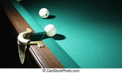 Russian billiards blow cue - successfully. Ball enters the pocket.
