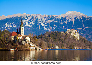 Lake Bled in Slovenia - Beautiful view of lake Bled in...
