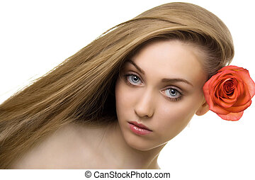 beautiful woman with rose isolated