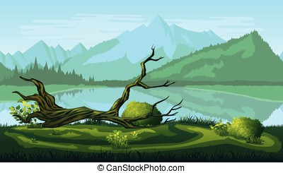 Seamless background of landscape with river, forest and mountains.