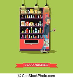 Vector illustration of food machine and man with coffee
