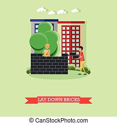 Vector illustration of bricklayer, masonry concept flat...
