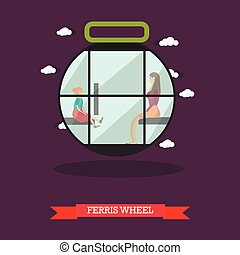 Vector illustration of ferris wheel attraction in flat design
