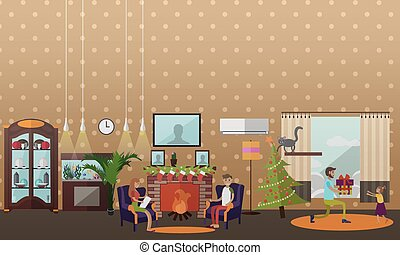 Vector illustration of cozy fireplace with christmas...