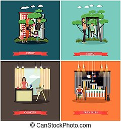 Vector set of family concept design elements in flat style.