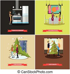 Vector set of Christmas, New Years Eve celebration concept posters