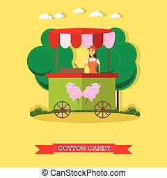 Vector illustration of cotton candy trolley and salesgirl,...