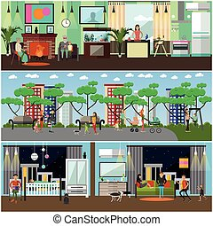 Vector set of family concept design elements in flat style....