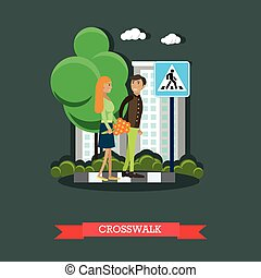 Crosswalk concept vector illustration, flat design. - Street...