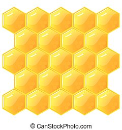 Honeycomb, isolated on the white. Vector.