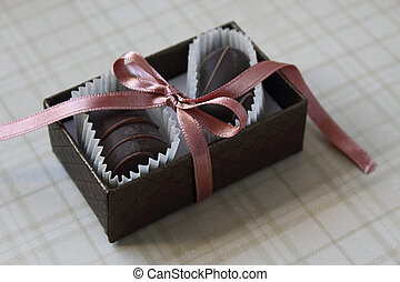 Praline for you - Handmade praline with pink ribbon
