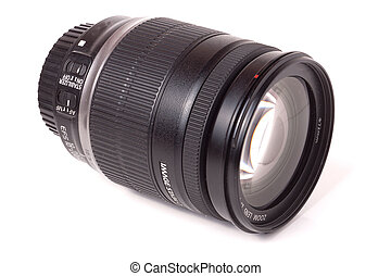 camera lens isolated on a white background closeup