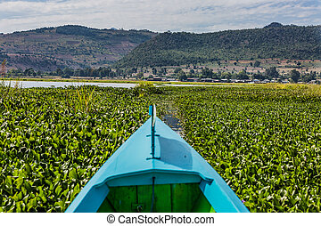 Inle Lake Shan state Myanmar - landscape view boat of the...