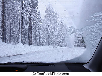Driving though snowy forest - Landscape with winter snowy...