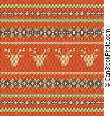 Knitted texture on red background with deers