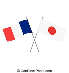 Japan and France flags - Vector illustration Japanese and...