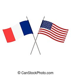 USA and France flags - Vector illustration American and...