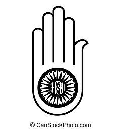 Ahimsa vector hand - Vector illustration jain symbol hand....