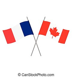 Canada and France flags - Vector illustration Canadian and...