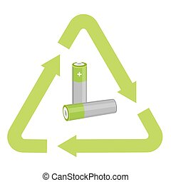 Battery with recycling symbol