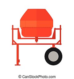 Concrete, cement mixer - Vector illustration orange...