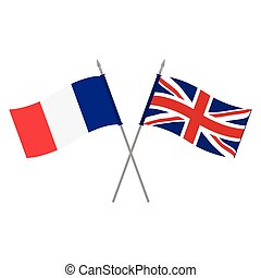 UK and France flags - Vector illustration UK and French...